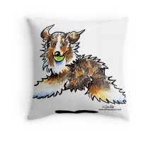 Red Merle Australian Shepherd Let's Play Throw Pillow