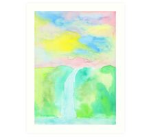 Watercolor Hand-Drawn Colorful Waterfall Painting in Pastel Tones Art Print