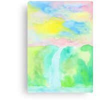 Watercolor Hand-Drawn Colorful Waterfall Painting in Pastel Tones Canvas Print