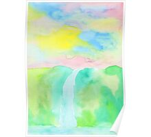 Watercolor Hand-Drawn Colorful Waterfall Painting in Pastel Tones Poster