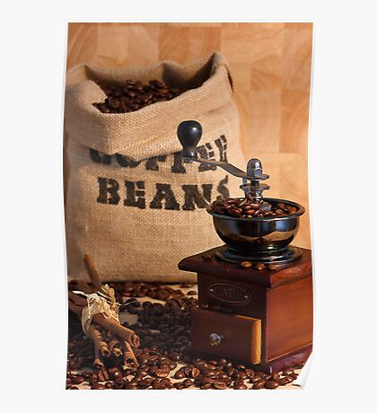 Coffee Beans and Grinder Poster