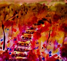 Fall on the stairway path, watercolor by Anna  Lewis