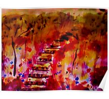 Fall on the stairway path, watercolor Poster