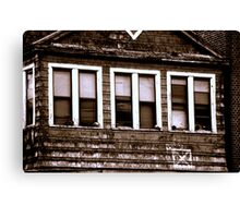 Windows of a house in ruins-B&W Canvas Print