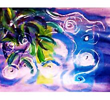 The ripple effect after the rain on the pond, watercolor Photographic Print
