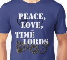 Peace, love and time lords Unisex T-Shirt