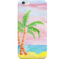 Hand-Painted Beach Resort Sand Coconut Trees Watercolor Painting iPhone Case/Skin