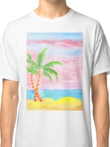 Hand-Painted Beach Resort Sand Coconut Trees Watercolor Painting Classic T-Shirt