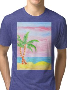 Hand-Painted Beach Resort Sand Coconut Trees Watercolor Painting Tri-blend T-Shirt