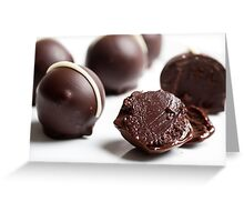 Dark Chocolate truffles on white background  Greeting Card