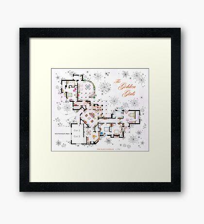 The Golden Girls House floorplan v.1 Framed Print
