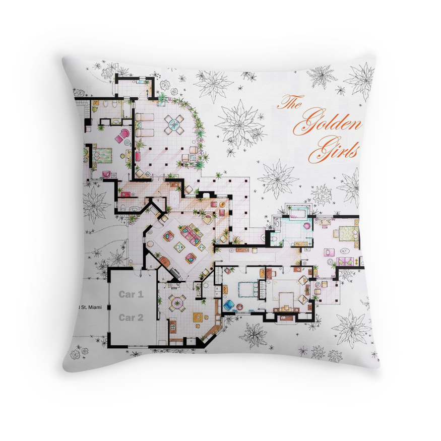 quot the golden girls house floorplan v 1 quot throw pillows by