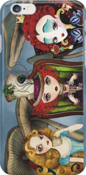 Alice's Tea Party iPhone Case by sandygrafik