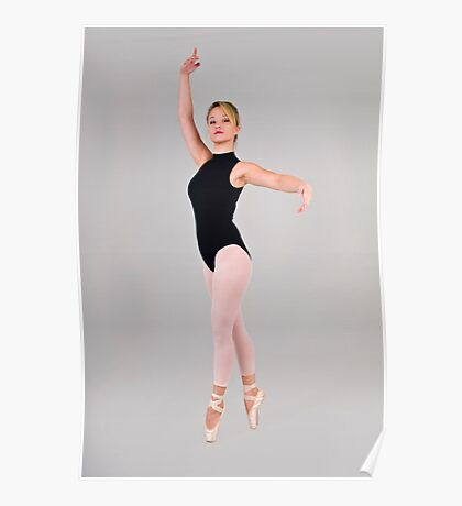 Female blond Ballet Dancer balances on her toes Poster