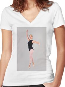 Female blond Ballet Dancer balances on her toes Women's Fitted V-Neck T-Shirt