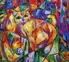 Cubist Cats At Dusk by Dianne Connolly