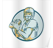 American Football QB Throwing Circle Etching Poster