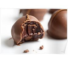 Chocolate truffles on white background Poster