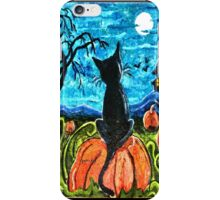 Cat in pumpkin patch iPhone Case/Skin