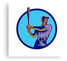 Baseball Batter Batting Bat Circle Woodcut Canvas Print