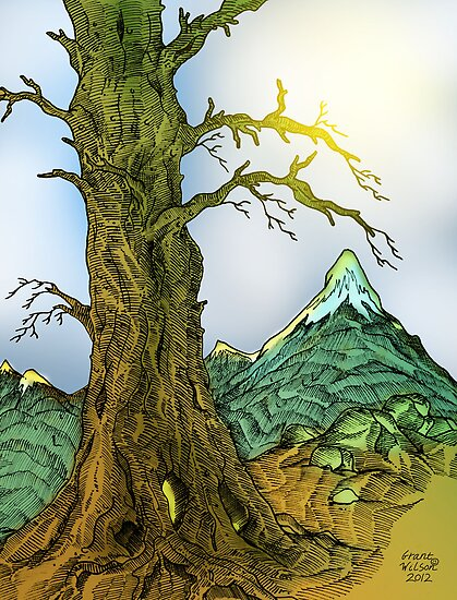 Tree and Mountain Pen Drawing by Grant Wilson