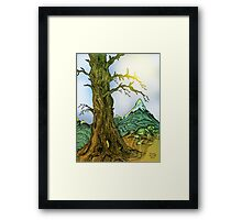 Tree and Mountain Pen Drawing Framed Print