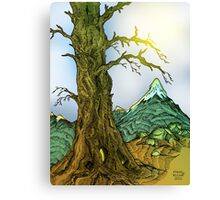 Tree and Mountain Pen Drawing Canvas Print