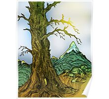 Tree and Mountain Pen Drawing Poster