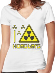 I LOVE MONSTERS T-shirt Women's Fitted V-Neck T-Shirt