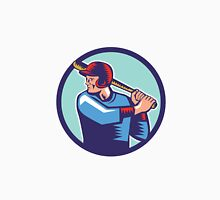 Baseball Player Batter Batting Circle Woodcut Unisex T-Shirt