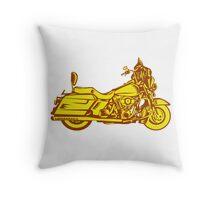 Motorcycle Motorbike Woodcut Throw Pillow