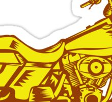 Motorcycle Motorbike Woodcut Sticker