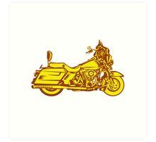 Motorcycle Motorbike Woodcut Art Print