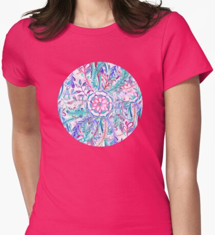 Boho Flower Burst in Pink and Teal Womens Fitted T-Shirt