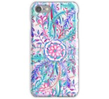 Boho Flower Burst in Pink and Teal iPhone Case/Skin