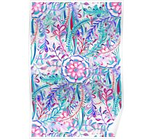 Boho Flower Burst in Pink and Teal Poster