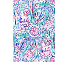 Boho Flower Burst in Pink and Teal Photographic Print