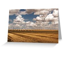Wind Turbines on a Checkerboard Landscape Greeting Card