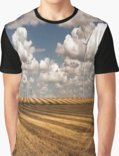 Wind Turbines on a Checkerboard Landscape Graphic T-Shirt