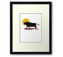 bull and sun Framed Print