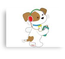 Cute Puppy Headphones Canvas Print
