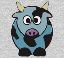 ღ°㋡Cute Baby Blue Cow Clothing & Stickers㋡ღ° One Piece - Long Sleeve