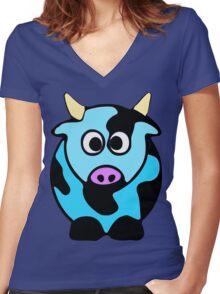 ღ°㋡Cute Baby Blue Cow Clothing & Stickers㋡ღ° Women's Fitted V-Neck T-Shirt