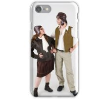 steampunk couple on white  iPhone Case/Skin