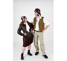 steampunk couple on white  Photographic Print
