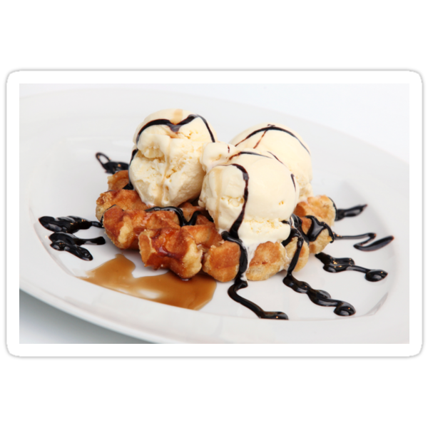 Waffle with ice cream chocolate and maple syrup  by PhotoStock-Isra