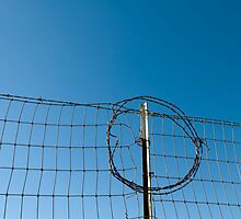 Section of a fence topped by barbed wire by Jeff Knapp