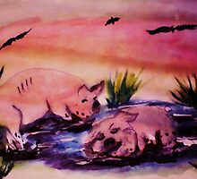 WAKE UP!!  It's my turn, watercolor by Anna  Lewis