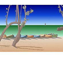 Beach scene illustration Photographic Print