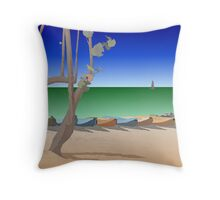 Beach scene illustration Throw Pillow